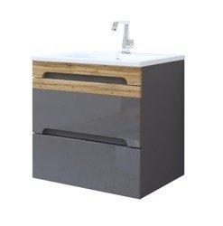 Nowoczesna szafka z umywalką 60 cm szary połysk Galaxy Grafit
