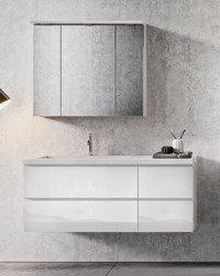 Oristo Szafki z umywalką 125 cm i szafką z lustrem BRYLANT białe L