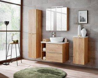 Zestaw mebli łazienkowych 80 cm Capri dąb z białym blatem