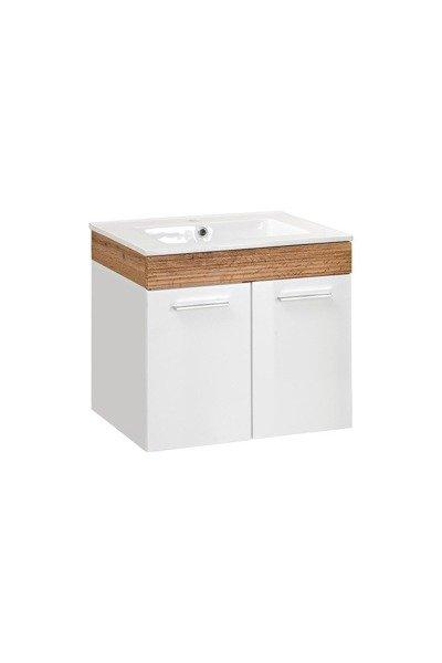 Aria szafka z umywalką 50 cm biały połysk