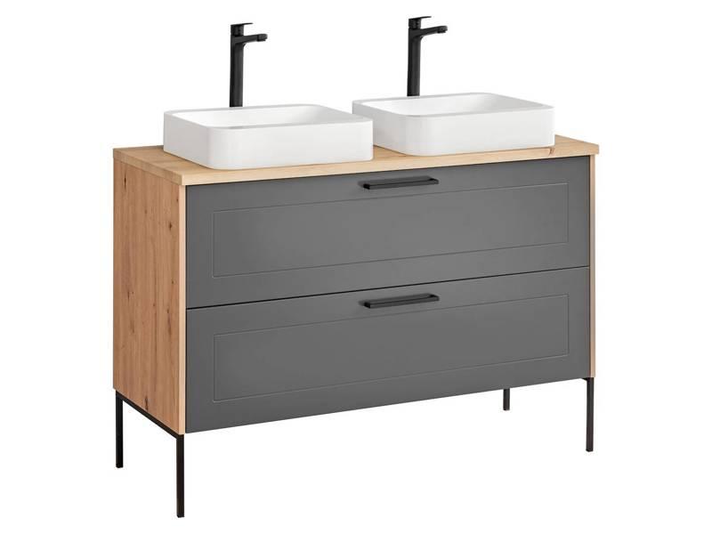 Madera Grey 854 - Szafka z blatem, dwiema umywalkami i nóżkami