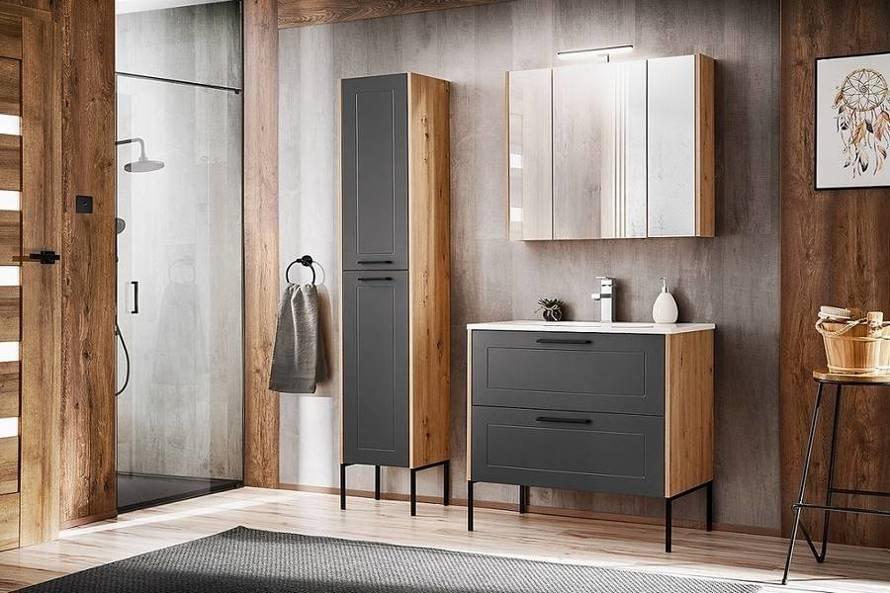 Madera Grey 854 - Szafka z umywalką 120 cm z nóżkami