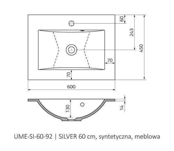 Oristo Szafka z umywalką 60 cm Silver szary mat