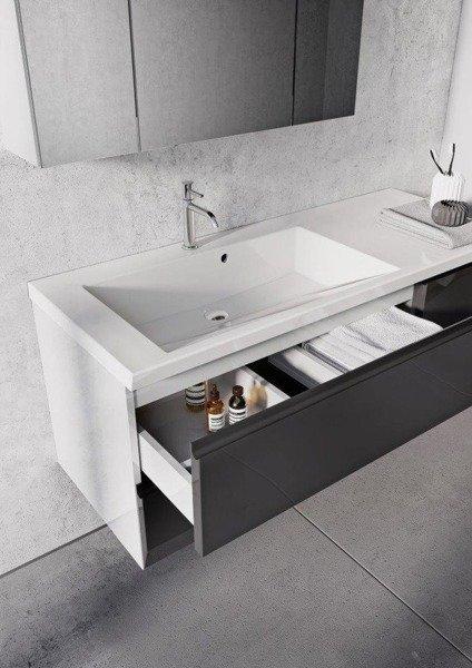 Oristo Szafki z umywalką 125 cm i szafką z lustrem BRYLANT białe P