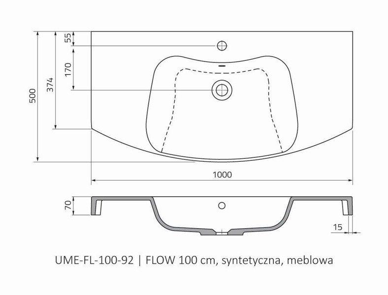 Oristo Umywalka meblowa 100 cm FLOW