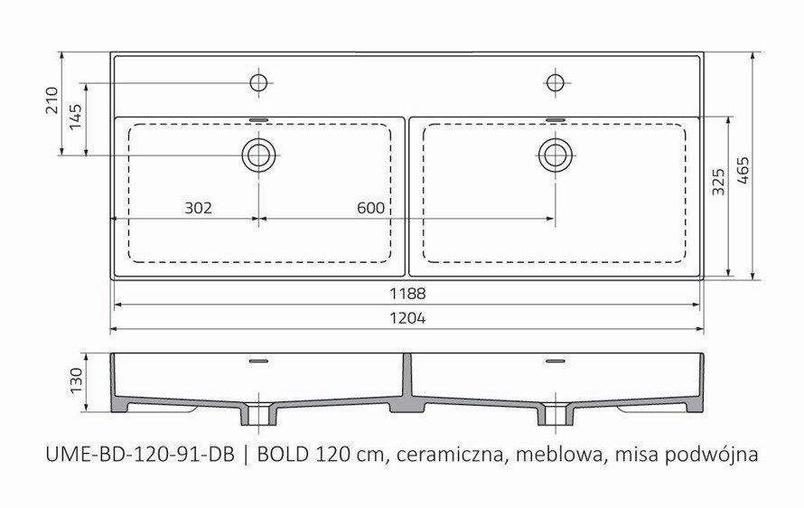 Oristo Umywalka meblowa 120 cm podwójna BOLD