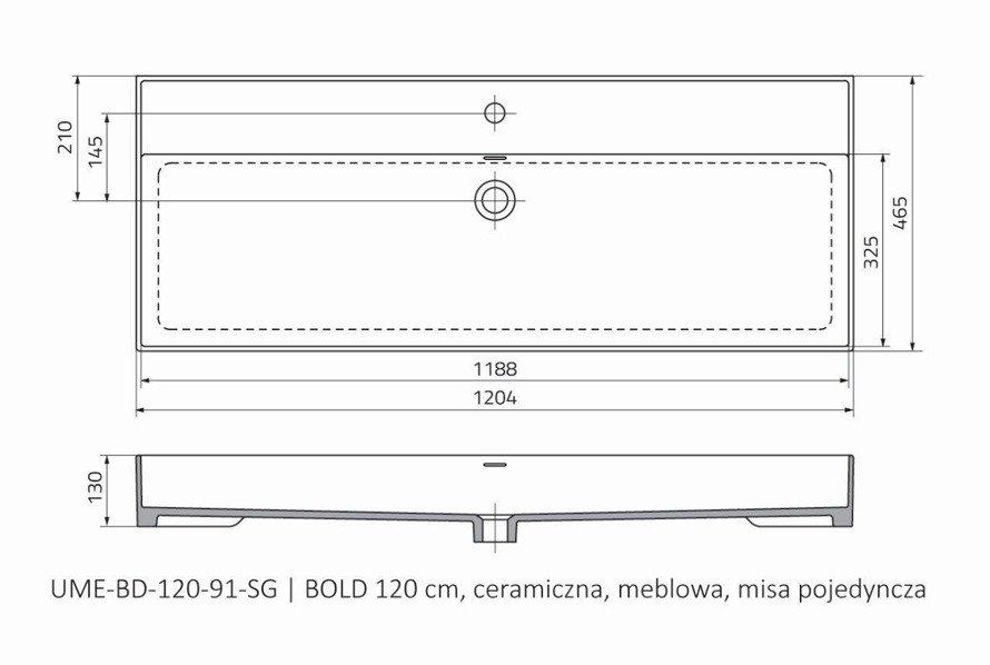 Oristo Umywalka meblowa 120 cm pojedyncza BOLD