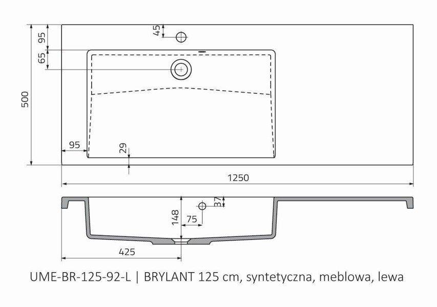 Oristo Umywalka meblowa 125 cm lewa BRYLANT