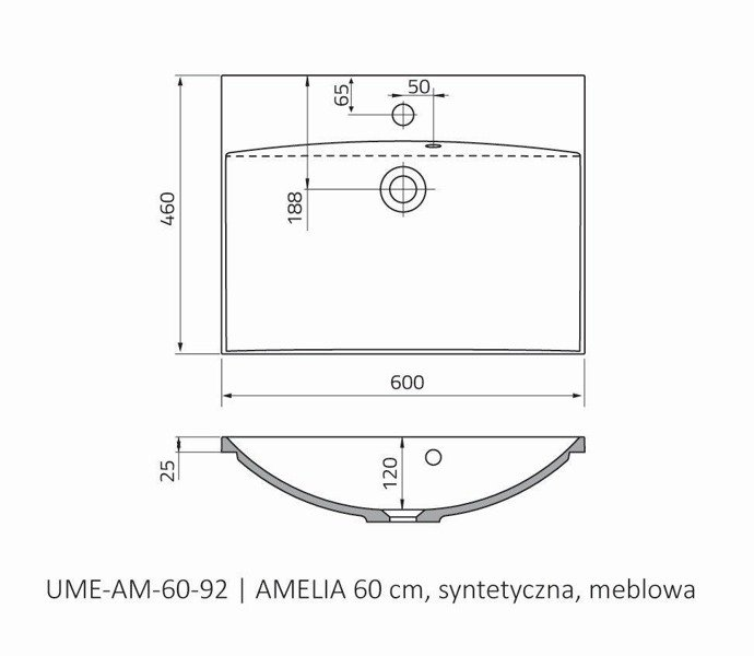 Oristo Umywalka meblowa 60 cm AMELIA