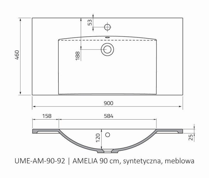 Oristo Umywalka meblowa 90 cm AMELIA