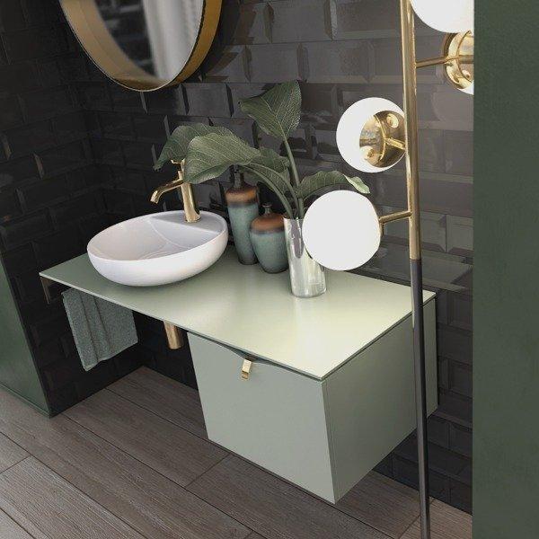 Oristo Zestaw szafka z umywalką i blatem 120 cm SIENA polny zielony mat
