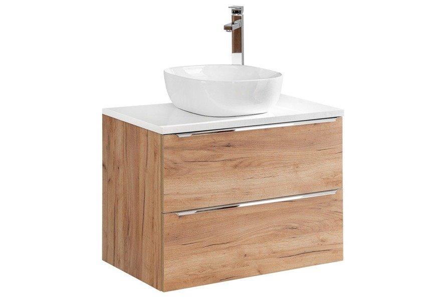 Szafka z umywalką 80 cm Capri dąb 821 z białym blatem