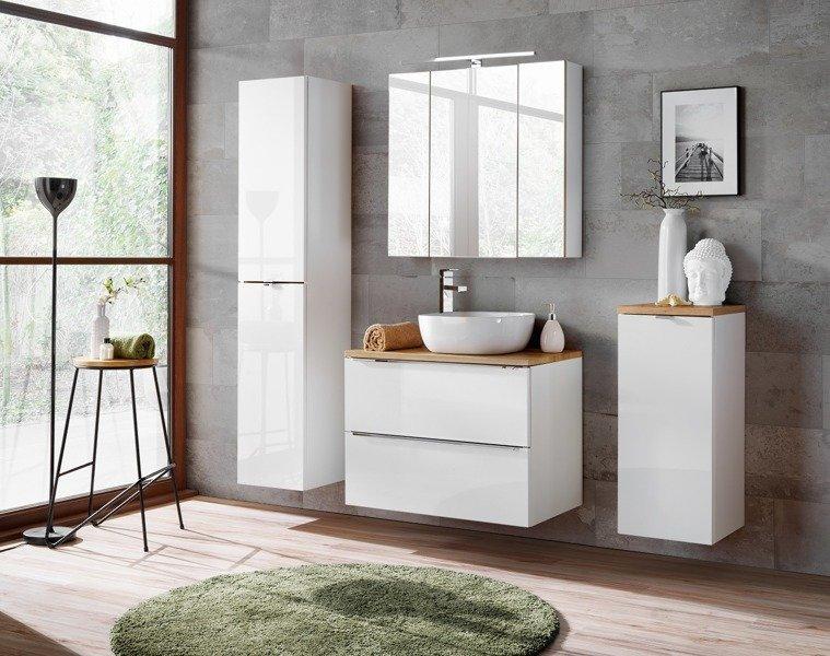 Szafka z umywalką i blatem 80 cm Capri biały 821 z blatem dębowym